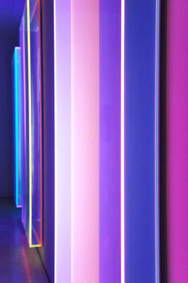 "Exhibitionview Galerie Judith Andreae, Bonn: Regine Schumann ""feel color"", May – July 2019,  colormirror bonn, 2019, fluorescent acrylic glass,"