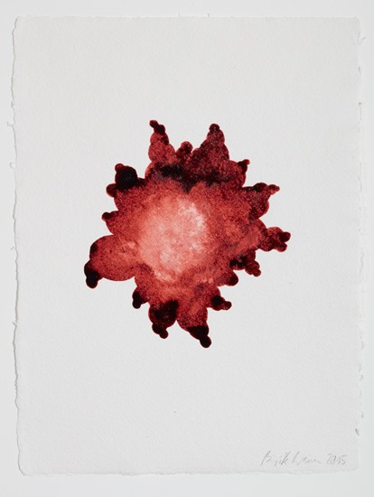 (EN) Birgitta Weimer, Innocent Cells, 2015, Shellac on handmade paper, 30 x 22 cm.