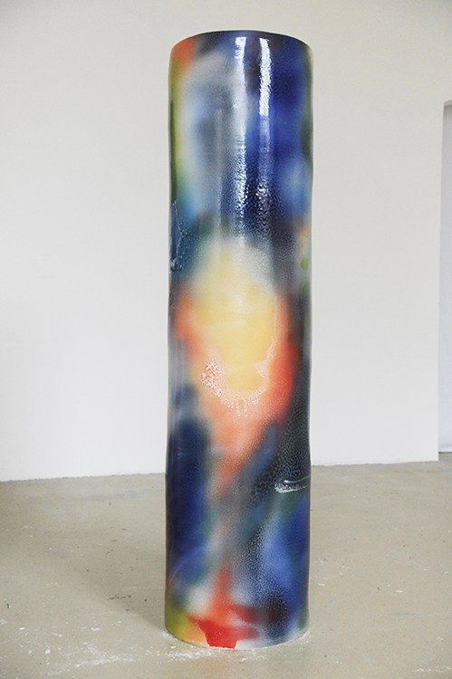 Stefanie Brehm, column 2 blue, 2016, ceramic glazed, 174 x 43.5 cm.