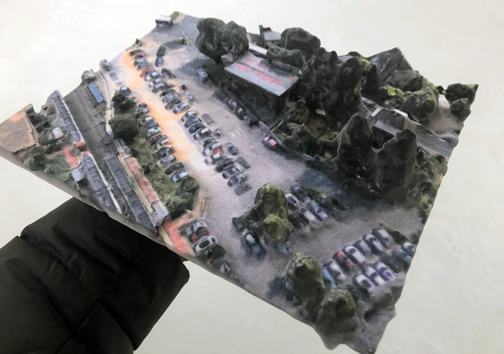 3D-GOOGLE-EARTH-MODEL # 1Fuhrwerkswaage Kunstraum, Cologne, (2018), A 3D print generated from 3D Google Earth data, 25 x 17,5 x 5 cm