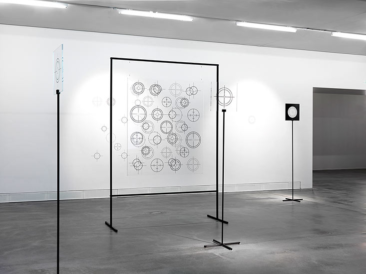 Francis Zeischegg, Focussing, 2018, acrylic glass panel, 125 x 107 cm, 8 mm thick, printed, tubular steel frame, 195 x 145 cm x 20 cm,Photo: Bernd Borchardt