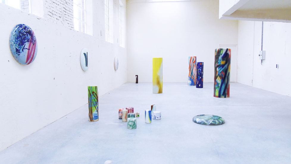 Exhibitionview: Stefanie Brehm, columns and disks.