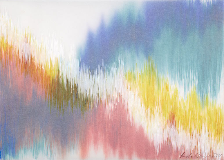 Emotional Seismology 2, 2020, shellac ink on various layers of transparent paper, 30 x 42 cm.