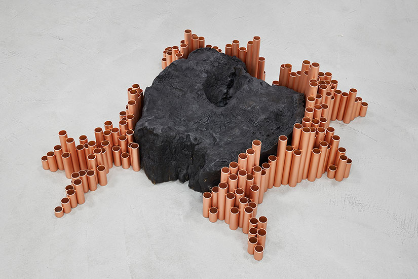 Birgitta Weimer, THE SPREAD from the series The End of the Carbon Age, 2020, copper, EPDM, burnt wood, 107 x 98 x 36 cm.