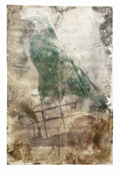 Adler/Schiff (Eagle/Ship), 1994, b/w photograph on Baryt paper, coloured, 300 x 200 cm