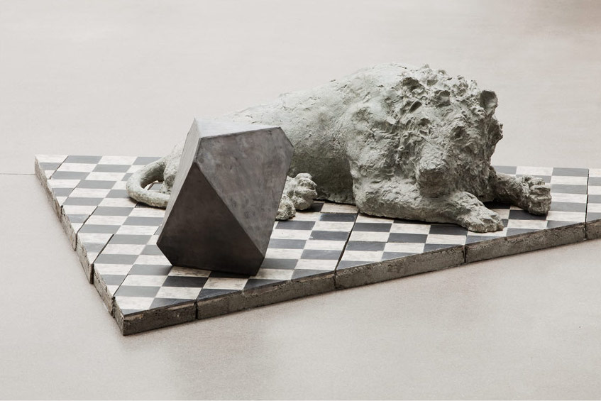 Hieronymus and Melencolia, 2010-2012, Concrete,lead, 64 x 333 x 152 cm