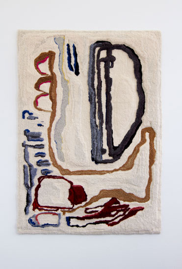 Pia Ferm, very important conversation, 2017, handtufted woolen tapestry, 193 x 130 cm.