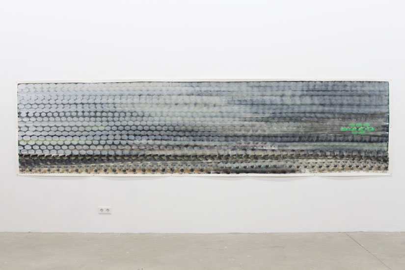 Andreas Bausch, o.T., Pigment, acrylic on paper, 113 x 450 cm.