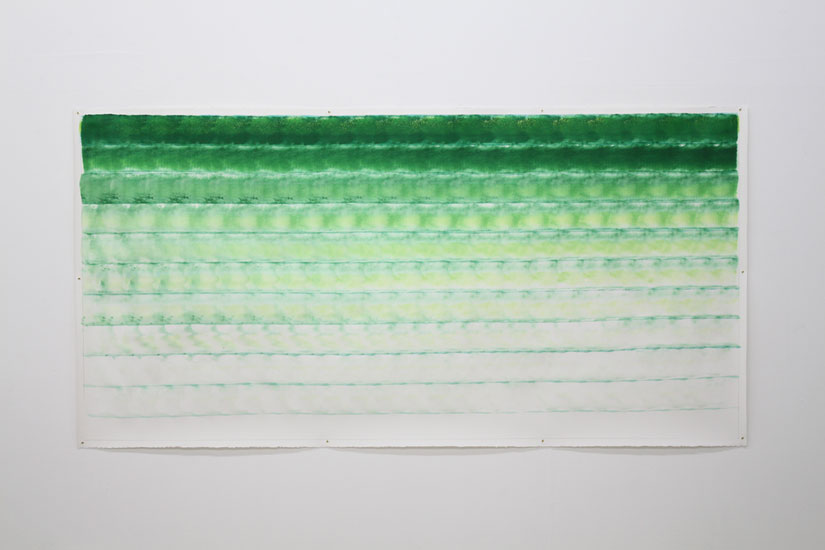 Andreas Bausch, o.T., 2017, Inc, Pigment, acrylic on paper, 113 x 226 cm.