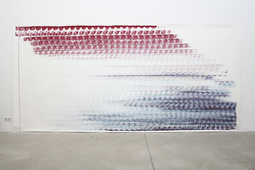 Andreas Bausch, o.T., 2020, Pigment, acrylic on paper, 200 x 500 cm.